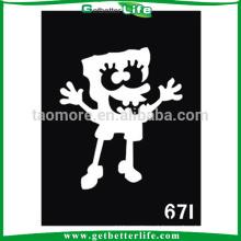 Adesivo Bob Esponja Glitter tatuagem papel do estêncil (11 * 8cm)