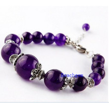 Natural Amethyst Beads Bracelet with Silver Charm (BRG0053)