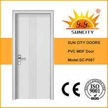 2016 новый дизайн интерьера с покрытием из ПВХ МДФ деревянные двери (СК-P087)