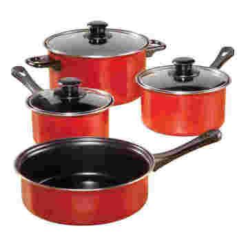 Amazon Vendor 7-Stück Nonstick Carbon Steel Kochgeschirr Set Red