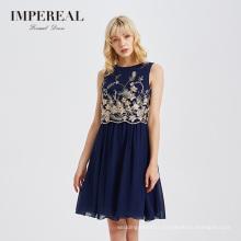 British designer embroidered sleeveless elegant mini women summer dress