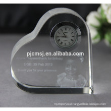 Customized Crystal Heart Shape Clock For Weddings