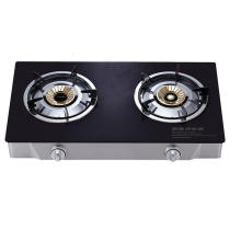 2 Burner Gas Stove with Black Tempered Glass