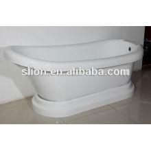 Bañera oval independiente de acrílico blanco caliente del descuento blanco con el plinth desmontable