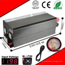 3000 W Inversor DC-AC 12VDC ou 24VDC 48VDC para 110VAC ou 220VAC Inversor de Onda Senoidal Pura com Carregamento CA