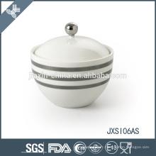 Sugar Pot en porcelaine, Candy Jar avec couvercle, Bouteille avec autocollant ligne de ruban