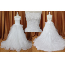 Vestido de novia sin tirantes de organza lentejuelas