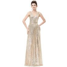Kate Kasin Sleeveless V-Neck Golden Shining Sequined Long Evening Dress KK000199-1