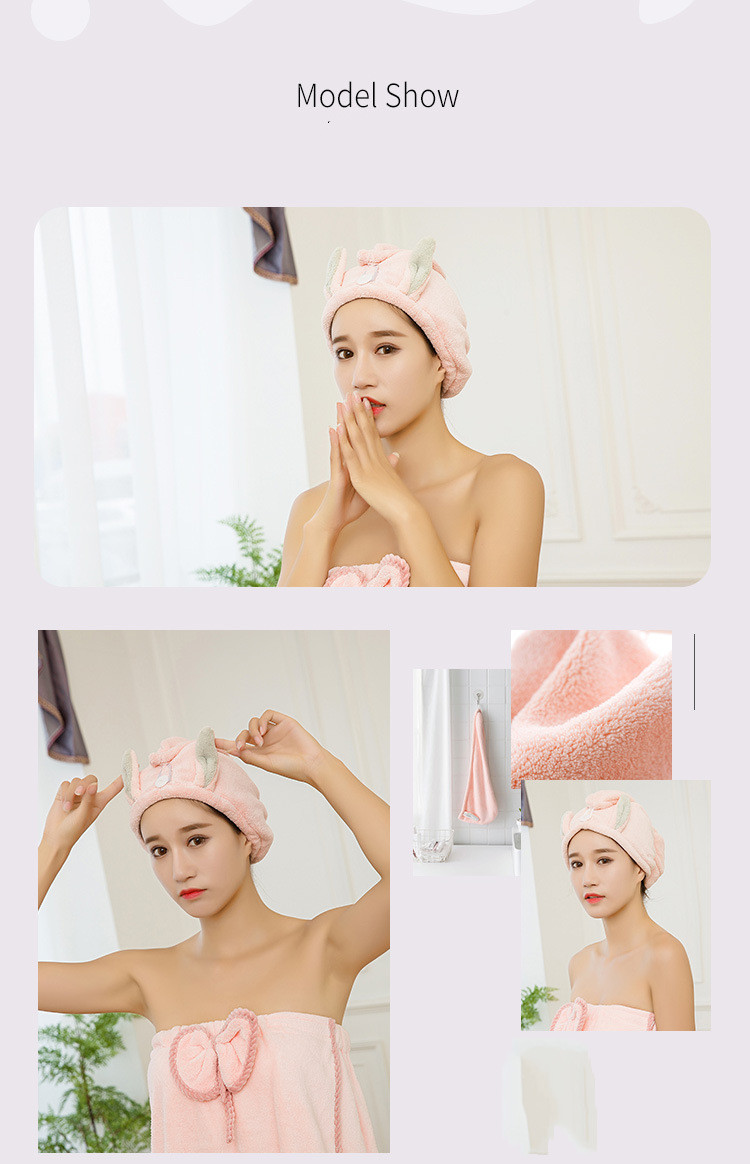 Thickened coral hair dryer towel shower cap (5)