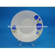 blue flower porcelain decal deep dinner plate