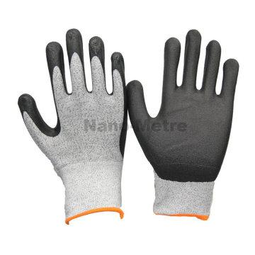 As luvas novas do mecânico da segurança de NMSAFETY exportam o nylon preto de 13g e o nitrilo preto da espuma da alto-tecnologia revestido de UHMWPE na palma