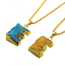 Colorful Crystal Alphabet Letter E Pendant Necklace