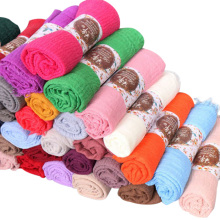 Alta qualidade multicolor longo estilo muçulmano mulheres cachecol sólido planície cachecol hijab dubai