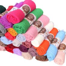 Высокое качество многоцветный длинные стиль мусульманский шарф женщин твердые обычная хиджаб шарф Дубай
