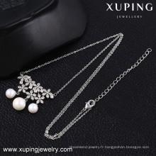 43014 xuping 2016 dernière conception beau collier de luxe de perles plaqué rhodium