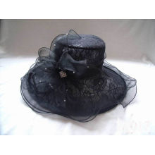 Black Ladies Church Organza Hat With Lace Fabric, Pearl Buckle For Party, Special Occasion