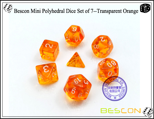 Bescon Mini Polyhedral Dice Set of 7--Transparent Orange-2