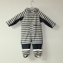 Sapphire/White PU Stripe Conjoined Raincoat/Overall for Baby/Children