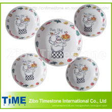 Cuencos de pasta de porcelana 5PCS y plato de ensalada (PB0128)
