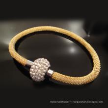 Bracelets de corde en métal tressé réglable fait main fermoir magnétique fait main original pour hommes