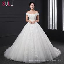З-004 Аппликация Бальное Платье С Бисером Кружева Свадебное Платье