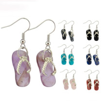 Fashion Unique Natural Amethyst Turquoise Hook Slipper Earrings