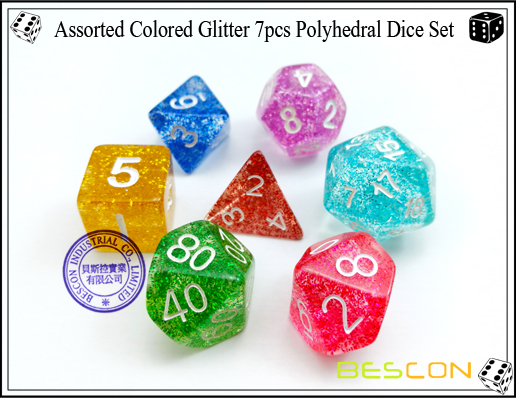 Assorted Colored Glitter 7pcs Polyhedral Dice Set