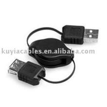 Negro NUEVO USB 2.0 un varón a una extensión femenina cable retráctil AM a AF