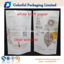 Wiederverschließbares weißes Kraftpapier-Taschenpapier steht oben Lebensmittelverpackung
