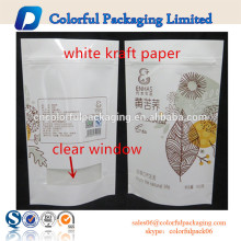 Resealable white kraft paper bag paper stand up food packaging