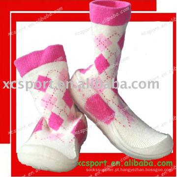 Macio PVC sola bebê sapato meias