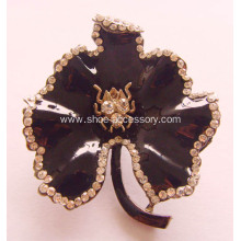 Maple Leaves Metal Shoe Buckle with Rhinestone