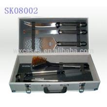 boîte à outils en aluminium solide & portable pour outils de barbecue