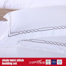 Roupa de cama do ponto da torção da corrente Roupa de cama do hotel do projeto clássico