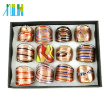 High quality Lampwork Glass Gold sand Rings made by hand with mix color mix size 12pcs/box, MC1003