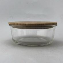 Runder Lebensmittelbehälter mit Bambusdeckel