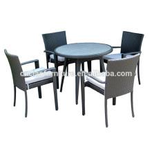 Mesa de ratán con mesa de madera y muebles de patio de 5 pc con inserción de madera plástica