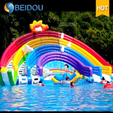 Cheap Durable Giant Inflatable Pool Rainbow Water Slide pour adulte
