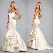 2014 Sexy Tiered satinado sirena vestido de novia de largo vestido nupcial con escote corazón y abierto de encaje trasero NB0674