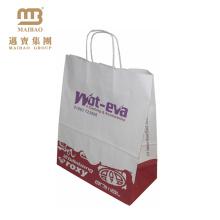 Por atacado barato personaliza o saco de papel branco de embalagem de Kraft do ofício da compra do logotipo com punhos torcidos