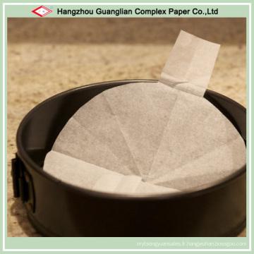 Revêtements pré-coupés de papier de cuisson anti-adhésif pour la doublure de gâteau d'étain
