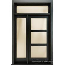 Porta de vidro de madeira contínua estilo moderno