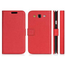 Soft Leather Wallet Phone Cases Red For Samsung Galaxy Gran