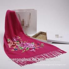 bufanda de cachemira de alta calidad embroide bufanda de cachemira de flores
