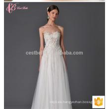 Nuevo modelo 2017 de encaje de hombro de apliques vestido de novia vestido de bola