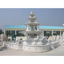 Fontaine de sculpture en marbre en pierre pour jardin foncé (SY-F220)