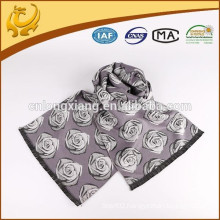 Hot Sell Own Factory Viscose And Polyester Brushed Rose Jacquard Scarf With Flower Jacquard Scarf