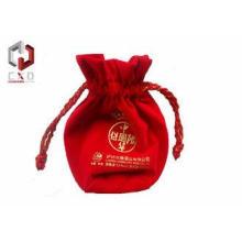 Wine Bottle Velvet Drawstring Bag With Silk Screen Printing