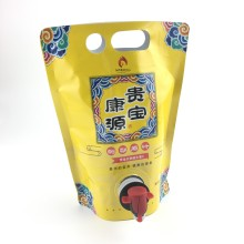 laminated material aluminum foil 1L stand up pouch with butterfly valve bag in box for pear juice beverage packaging