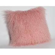 Pembe Renkte Moğol Koyun Cilt Kürk Yastık